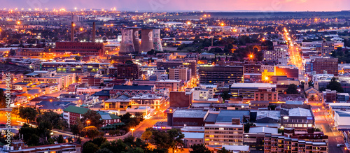Obraz Aerial view of Bloemfontein, Free State, South Africa, by night. - fototapety do salonu