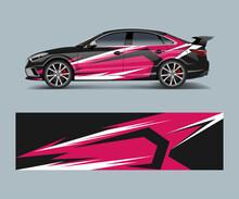 Wrap Design For Custom Sport Car. Sport Racing Car Wrap Decal And Sticker Design.