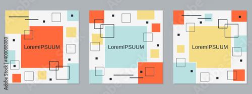 Fototapeta Square geometric style flyer, banner, booklet, brochure cover vector templates c