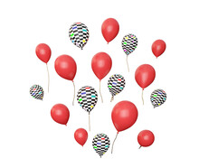Many Flying Red And Checkered Balloons Isolated On White, 3d Render