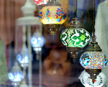 Stained Glass Lamps In Shape Of Lampions, Modern Led Technology Used In Retro Decoration.