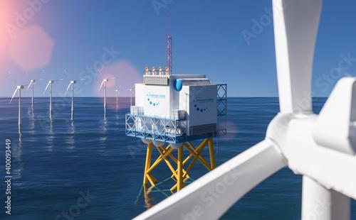 Obraz na plátne Hydrogen renewable energy production - hydrogen gas for clean electricity solar and windturbine facility