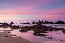 Seal Rock Beach Oregon At Dusk