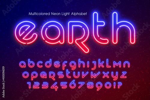 Foto Neon light alphabet, extra glowing futuristic type.