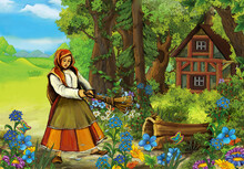 Cartoon Scene With Farm Woman In The Forest Near House Illustration