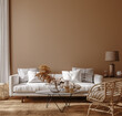Boho style home interior, living room in brown warm color, 3d render
