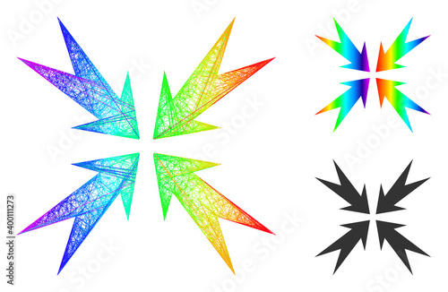 Obraz na plátne Spectral vibrant net compression arrows, and solid spectral gradient compression arrows icon