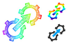 Rainbow Colored Network Gear Integration, And Solid Rainbow Gradient Gear Integration Icon. Wire Carcass 2D Network Abstract Symbol Based On Gear Integration Icon, Created From Crossing Lines.
