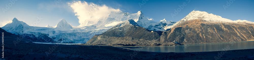 Fototapeta Panorama view of beautiful glacier lagoon and snow mountains in Tibet,China