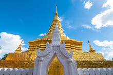 Beautiful Gilded Chedi In Wat Phra That Chae Hang The Most Important Temple In Nan Province Of Thailand. The Chedi Contains A Relic Of The Buddha Dating Back To 14th Century.
