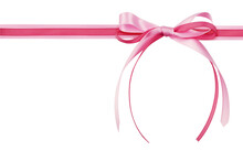Pink Satin And Rep Ribbon With Tied Bow