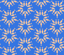 Seamless Geometric Pattern With The Image Of Small Fish, Sea, Fishes. Vector Design For Web Banner, Business Presentation, Brand Package, Fabric, Print, Wallpaper, Postcard.