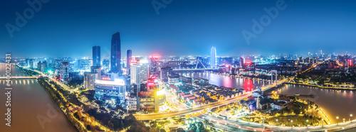Obraz Aerial photography of Ningbo city architecture landscape night view - fototapety do salonu