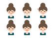 女性 表情 バリエーション イラスト
