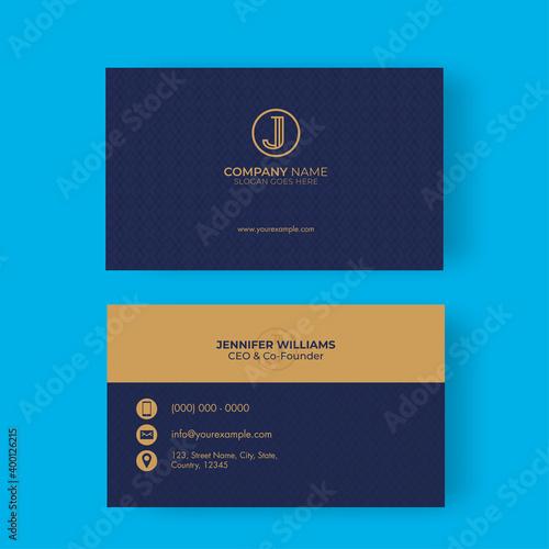 Obraz na plátne Double-Sides Of Business Card Design On Blue Background.