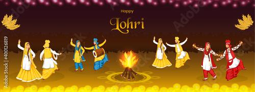 Valokuva Happy Lohri Celebration Background With Bonfire, Wheat Ears And Punjabi Couples Performing Bhangra Dance