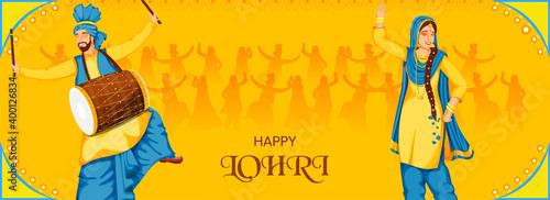 Fotografia, Obraz Punjabi People Performing Bhangra Dance With Dhol Instrument On Yellow Background For Happy Lohri Celebration