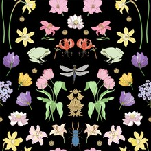 Floral Art Nouveau Ornament With Nascent Seamless Vector. The Pattern Contains Many Elements: Tulips, Lilies, Daffodils, Beetles, Dragonflies.