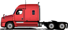 Red  Truck On The Road. Vector 3d Illustration