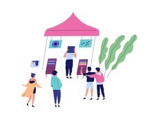 Group Of People At Musical Fair Or Festival. Men And Women Standing Near Vinyl Record Shop, Customer Choosing Music Plate At Booth. Summer Outdoor Event. Vector Illustration In Flat Cartoon Style
