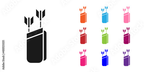 Photo Black Quiver with arrows icon isolated on white background