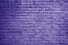 Pop Art Style Purple Colored Grunge Brick Wall For Background And Banner