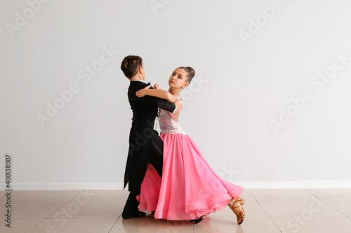 Leinwand Poster Cute little children dancing in studio