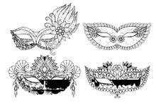 Carnival Mask Kids Coloring Page Line Art Illustration Vector
