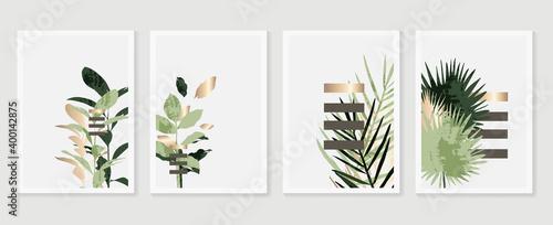 Carta da parati Botanical and gold abstract wall arts vector collection