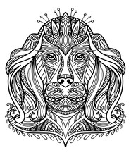Coloring Dog Kids Coloring Page Line Art Illustration Vector