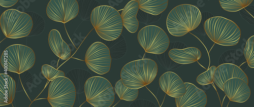 Fototapeta Luxury Gold and Green Ginkgo background vector. Maidenhair tree wallpaper. Hand drawn leaves design for prints and cover.Vector illustration. obraz