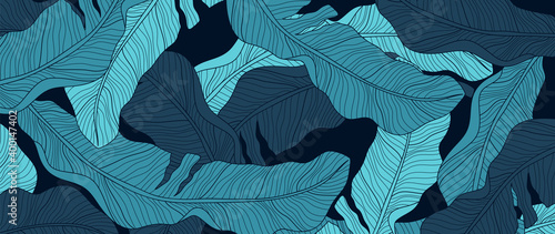 Luxury nature green background vector. Floral pattern, Banana leaf, Tropical plant line arts, Vector illustration.