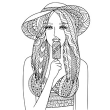 Eat Ice Cream Kids Coloring Page Line Art Illustration Vector