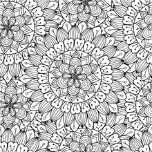 Floral Ornament Seamless Pattern Kids Coloring Page Line Art Illustration Vector