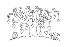 Hearts On Tree Kids Coloring Page Line Art Illustration Vector