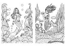 Mermaid Set Kids Coloring Page Line Art Illustration Vector
