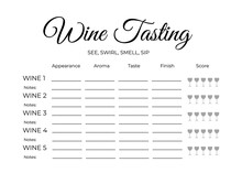 Wine Tasting Score Card. Stationary For Wine Themed Party, Winery, Restaurant, Etc. Easy To Edit Vector Template.