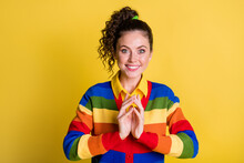 Photo Of Lady Wavy Hairdo Fingers Evil Gesture Toothy Smile Excited Look Wear Striped Sweatshirt Isolated Yellow Color Background
