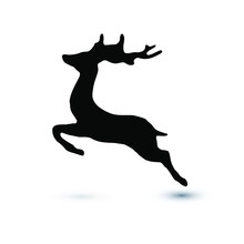 Deer Crossing Icon, Isolated On White Background. Eps10 Vector Illustration.
