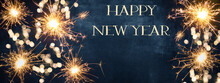 HAPPY NEW YEAR 2021 Background Greeting Card - Firework, Sparklers And Bokeh Lights And Sparklers On Dark Blue Night Sky