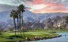 Golf Courseat Sunset  In Palm Springs, California