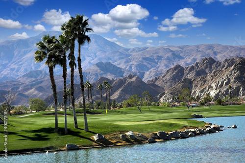 Fototapeta golf courseat sunset  in palm springs, california