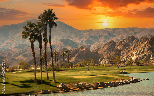 Fotografia, Obraz golf courseat sunset  in palm springs, california