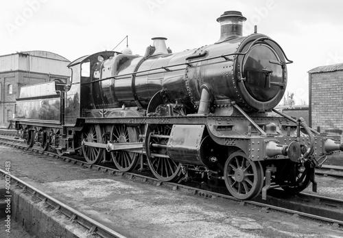 Obraz na plátně Steam engine on a railway track