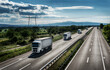 Highway transportation scene with Caravan or Convoy of transportation trucks in line on a rural highway under a dramatic sky