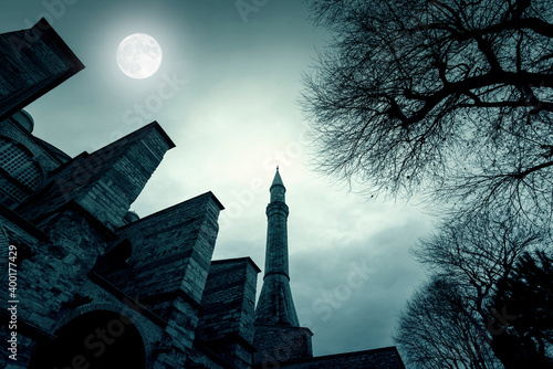 Magic night with moon over old minaret at Topkapi Palace in Istanbul, Turkey, to Fototapet