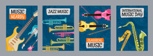 Colorful Posters Design With Musical Instruments. Vivid Brochures For Music Day Or Festival. Concert And Entertainment Concept. Template For Promotional Leaflet Or Flyer