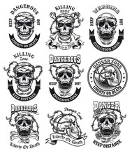 Dangerous Zone Emblems Set. Monochrome Design Elements With Human Skulls Tied With Barbed Wire, Ribbons With Text. Danger Or Death Concept For Labels, Stamps, Tattoo Templates