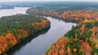 Big river and autumn foggy forest, aerial view of Poland