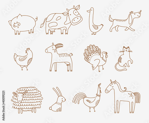 Photo flat vector illustration of cute farm animals